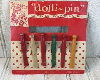Vintage Wooden Dolli-pin Clothespins with Original Packaging