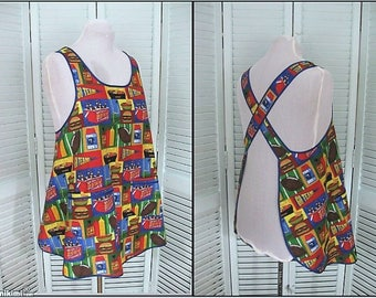 Cross Back Apron/Smock- Tailgate apron football season apron fall apron Size Med