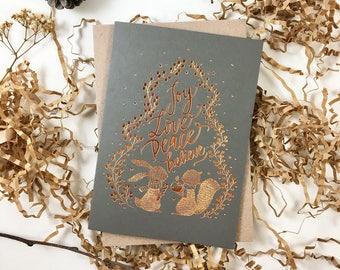 Christmas Card - Joy, Love, Peace, Believe - Copper Foil Greeting Card