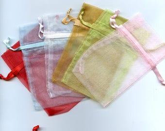 Multi Colored Pastel  Organza Drawstring Bags