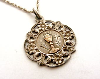 French antique art nouveau silver and rose gold chalice medal on sterling chain