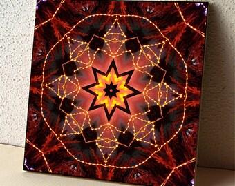 Kaleidoscope ceramic tile, trivet, coaster   Bison lights fantasy, mandala orange, gold, brown, decorative tile, Christmas gift 1416