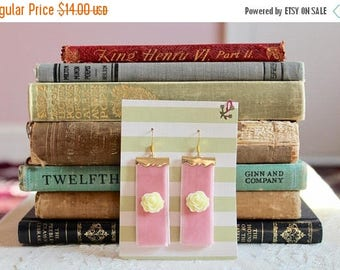 30% OFF Pretty pink velvet earrings with ivory rose cabochons and golden metal accents, Taffy Treats