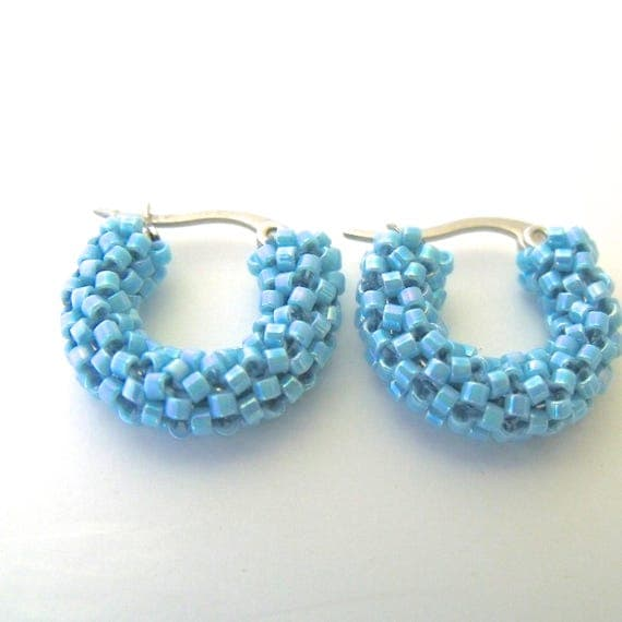 Small Blue Earrings: Turquoise Blue Hoop Earrings Beaded Small Blue Earrings