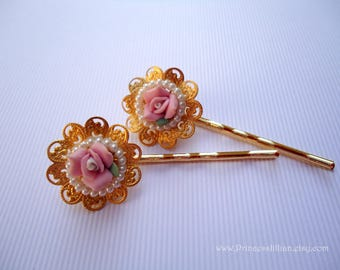 Cabochon hair pins - Romantic soft pink clay rose white pearls gold filigree sophisticated decorative embellish jeweled hair accessories