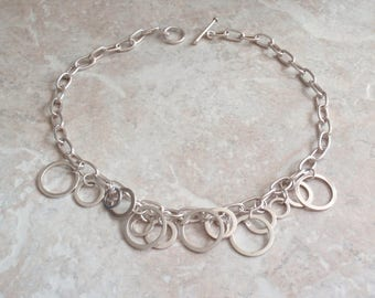 Sterling Silver Necklace Choker Large Link Chain Style Ovals Circles Toggle Clasp Vintage V0680