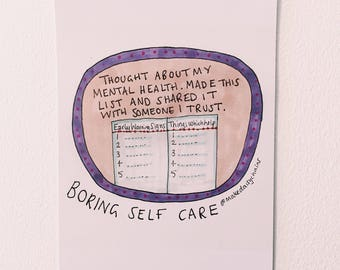 Early warning signs  #boringselfcare A5 print by Hannah Daisy