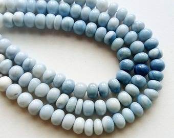 Blue Opal Beads, Shaded Blue Opal Plain Rondelle Beads, Blue Opal Necklace, 7.5-8.5mm, 15 Pcs - AS3739