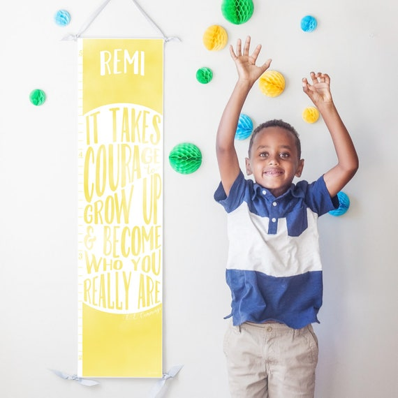 "Personalized Yellow ""It takes courage to grow up"" growth chart"