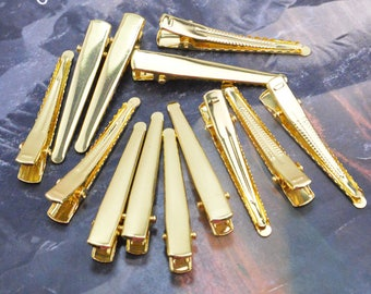 100 gold clips, hair clips, metal hair clip, gold metal clips, tip head clips, alligator clips, jewelry clips, wholesale clips 8x47mm
