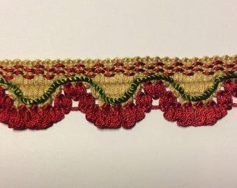 SALE  5 yard piece Flat decorative trim Yellow red green #A1