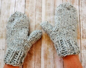 Hand Knit Mittens - Women - Chunky Wool 16 Colors - Hand-Knit Hand Warmers Knitted Winter