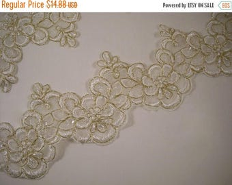 ON SALE Winter White and Gold Beaded Embroidered Organza Lace Trim--One Yard