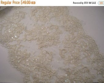 "ON SALE Ivory Beaded French Alencon Lace Trim 11"" Wide--One Yard"