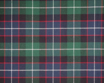 Classic Navy and Hunter with Red Tartan Plaid Pure Cotton Flannel Fabric--By the Yard