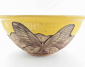 Yellow Ceramic Bowl, Butterfly Decor, Natural Decor, Hand Carved Bowl, Wheel Thrown Pottery, Fruit Bowl, Salad Serving Bowl, Rustic Decor