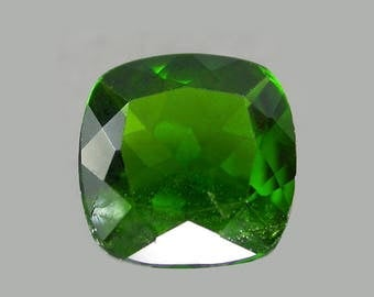 CHROME DIOPSIDE (34356) * * * * Rich 7mm Green Russian Diopside Cushion Cut - Faceted