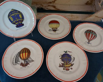 Set of French Hot Air Balloon Appetizer Plates