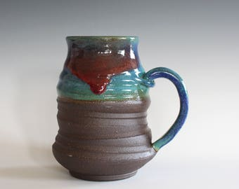 LARGE 20 oz Coffee Mug, hand thrown ceramic mug, stoneware pottery mug, unique coffee mug