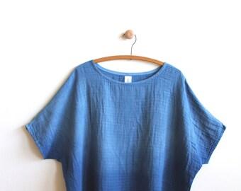 natural indigo dyed handmade organic cotton 'cielo' blouse in 'blue horizon'
