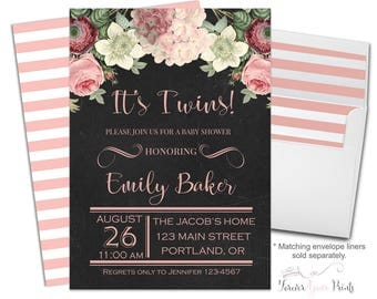 Twins Baby Shower Invitation - Twins Baby Shower Invites - Twins Invitation - Baby Twins Invite - Gender Neutral - Twin Babies - Twin Invite