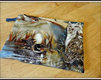 owl organizer bag, duck print cosmetic bag, outdoor scene quilted bag, water fowl bag, electronics bag, nature lover gift, teacher gift