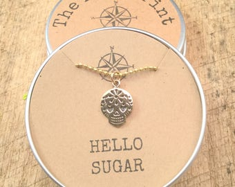 Mexican Sugar Skull Charm, Pendant, Necklace,  Hello Sugar