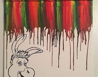 Inspired Donkey melted crayon painting