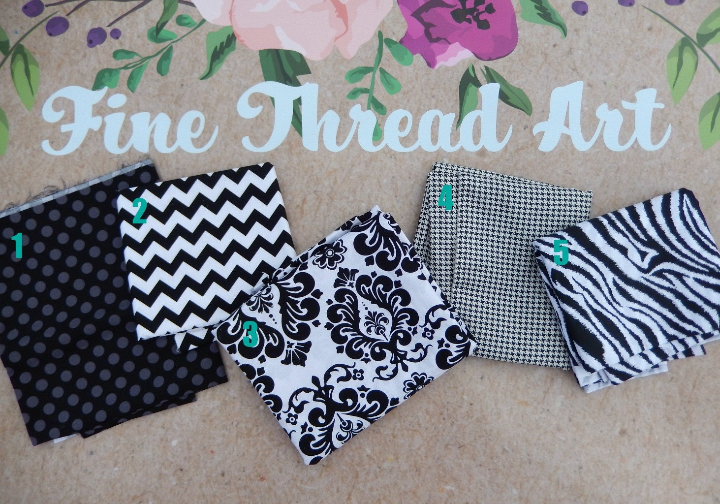 Black and White Applique Fabric