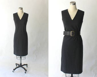 Vintage Agnes B. Lambswool Shift Dress // 1990s Tailored Dark Gray Sleeveless Dress // Small - Medium