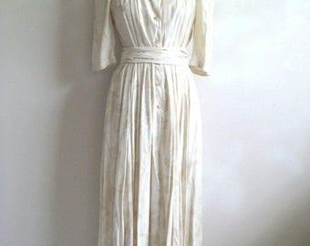 Vintage MONDI 1980s Dress Cream Floral Dirndl Designer 80s Dress West Germany 38 US8