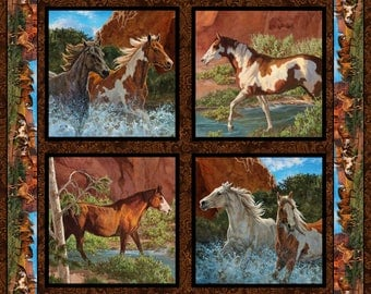 Wild Wings Rivers Edge Horses Pillow Panel Spring Creative One Yard, Cotton Fabric for Quilting  Free Shipping