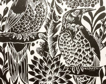 Birds Lino Print Black
