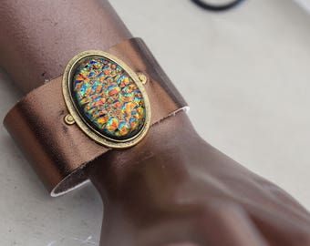 Fused dichroic glass and leather  cuff bracelet, fused glass, dichroic glass, leather, cuff bracelet, fused glass jewelry, glass bracelet
