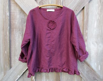washed linen top blouse in berry wine burgundy ready to ship