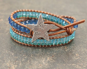 Star Jewelry Turquoise Teal Green Blue Shining Star Bracelet Unique Double Leather Wrap Bracelet