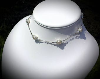White Crystal Pearl Silver Bridal Victorian Choker, Ivory Pearl Steampunk Edwardian Necklace, Silver Filigree, Titanic Temptations 17001