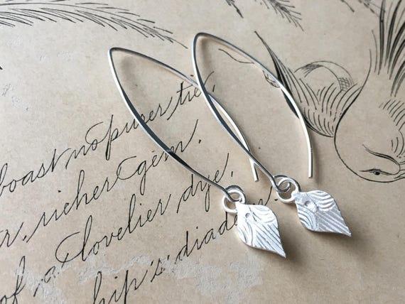 Petite Earrings, Tiny Drop Earrings, Silver Dangle, Hand Carved
