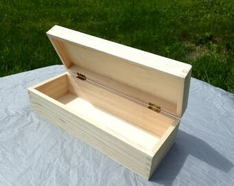 Long Wooden Box for Mosaics and other Crafts - Unfinished Wood with Recessed Lid Raised Edges