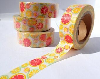 Citrus Fruit Washi Tape - Paper Tape for Calendars Scrapbooking Paper Crafts Organizing 15mm x 10m - Grapefruit Oranges Lemons Limes