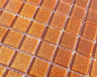 Sunbaked Orange Glitter Tiles - 1 inch Mosaic Tiles - 25 Metallic Glass Tiles - Tropical