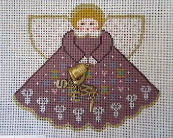 """Painted Pony HP Needlepoint Canvas Angel With Sewing Charms #946 """"Sew Much Fun"""" Hand Painted 18 Ct. Mesh Canvas"""