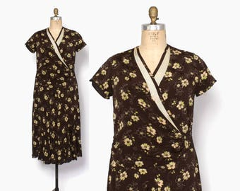 Vintage 20s Brown Day DRESS / 1920s Lime Green & Ivory Floral Print Rayon Crepe Dress XL