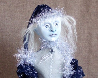 Jack Frost, a cloth and clay Christmas / holiday / winter / yule art doll by Jan Conwell