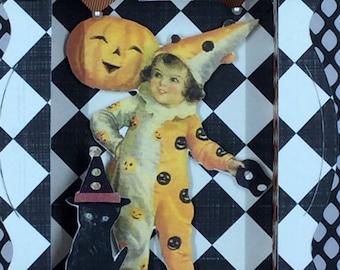 Vintage Style Halloween Shadow Box, Halloween Diorama, Halloween Decoration, Halloween 3D, Clown Costume, Black Cat, Pumpkin, OOAK