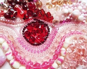 Pink & Red Glass Bead Mix, 10 oz Vintage Lot Czech AB, Teardrops, Lampwork, More