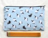 Sheep on Blue Fabric Zipper Pouch / Pencil Case / Make Up Bag