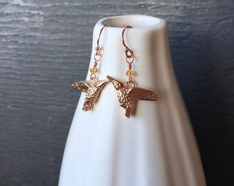Rose gold hummingbird earrings, rose gold earrings