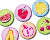 30% SALE Summer Fruits 1 inch circles. Digital bottle caps images. Printables for jewelry, magnets, scrapbooking. 1.313 inch size rounds ava