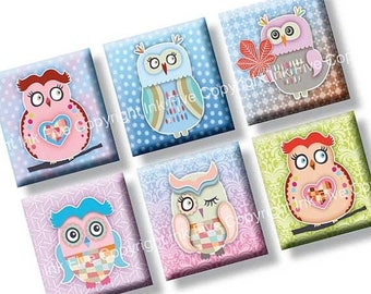 Colorful Owls scrabble tile images 0.75x0.83 inch squares. Two 4x6'' Collage Sheets for scrabble size pendants. Digital download. Printable